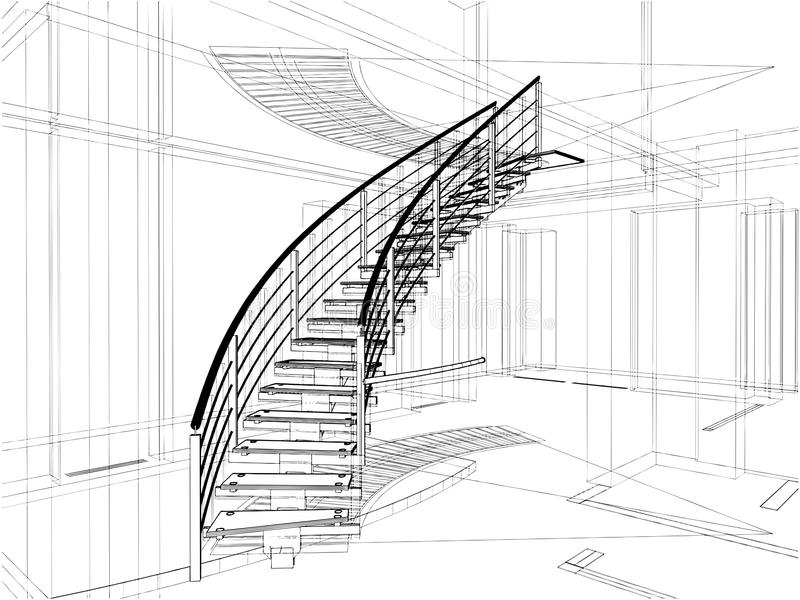 Abstract Spiral Staircases Constructions Of Line vector illustration