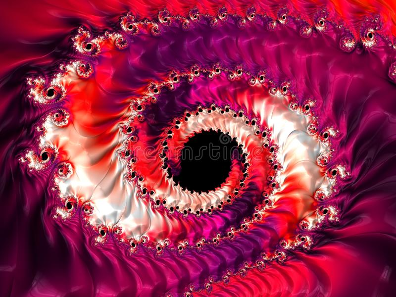 Abstract spiral textured red fractal, 3d render for poster, design and entertainment. Background for website and flyer.  royalty free illustration