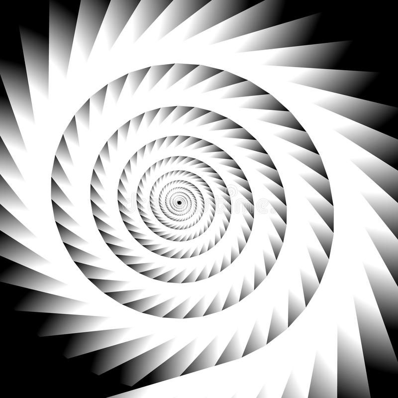 Abstract spiral, vortex graphic. Inward spiral. Artistic monochr. Ome image. - Royalty free vector illustration stock illustration