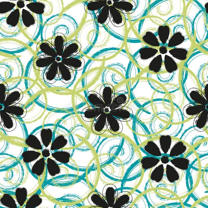 Abstract spiralen en bloemen naadloos patroonontwerp vector illustratie