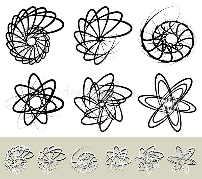 Abstract spirally, swirl element. Geometric spirals. Twisted shapes. Royalty free vector illustration vector illustration
