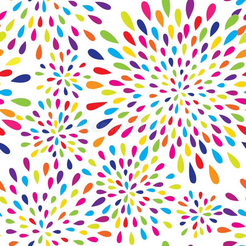 Abstract splash drop pattern. Firework spot background. Abstract pattern. Firework spot background. Abstract drop pattern. Seamless rainbow blot pattern stock illustration