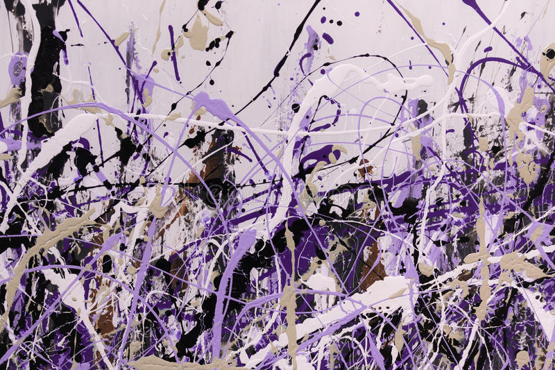 Abstract Splash Painting Art: Strokes with Different Color Patterns like Purple, Violet and Black royalty free stock photo