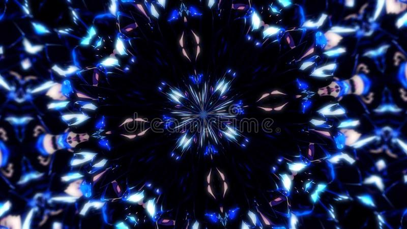 Abstract splash of patterned energy. Abstract particle explosion moving patterned and symmetrical from center on black vector illustration