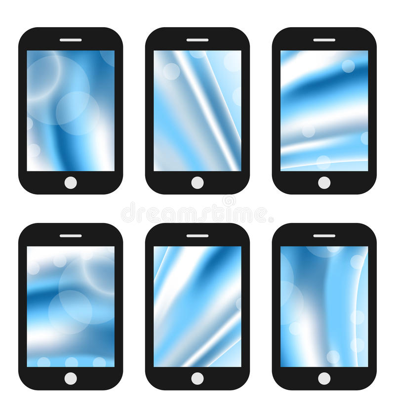 Abstract splash screens for mobile phones app with different wave backgrounds. Illustrations abstract splash screens for mobile phones app with different wave royalty free illustration