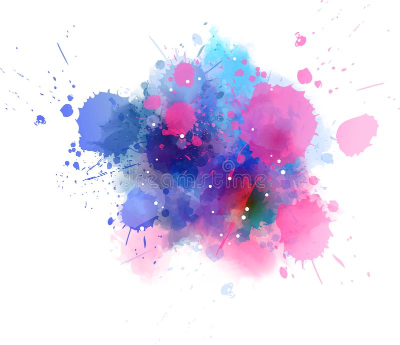 Watercolor splash blot - blue and pink. Abstract splash watercolor paint blot - template for your designs. Blue and pink colored royalty free illustration