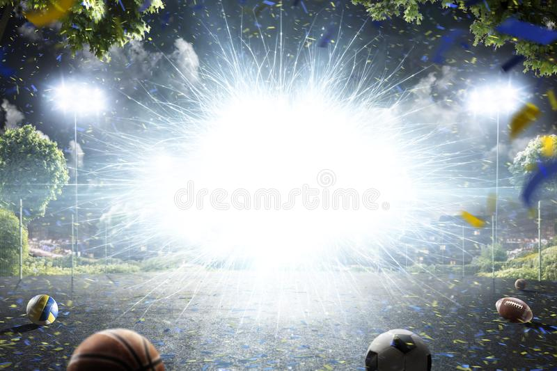 Abstract sport court background in lights stock illustration