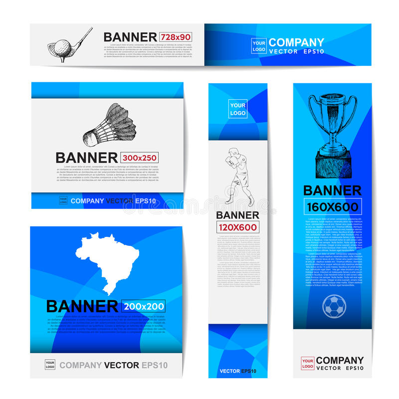 Abstract sport banner for Website Ads. Ratio,728x90,300x250,200x200,120x600,160x600 stock illustration