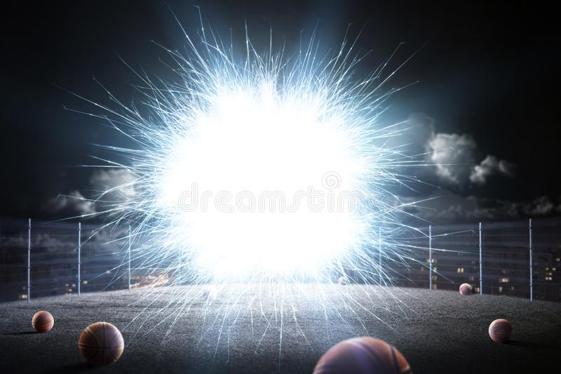 Abstract sport court background in lights stock photography