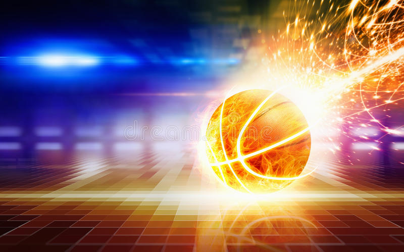 Abstract sports background - burning basketball. With reflection, glowing colorful lights and flares stock photography