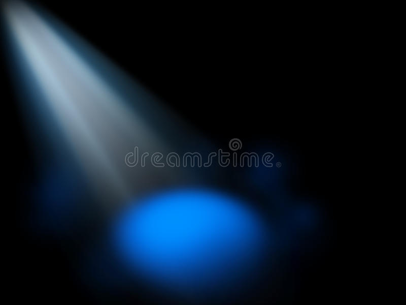 Abstract spotlight blue background. Blue generic spotlight on stage background stock image