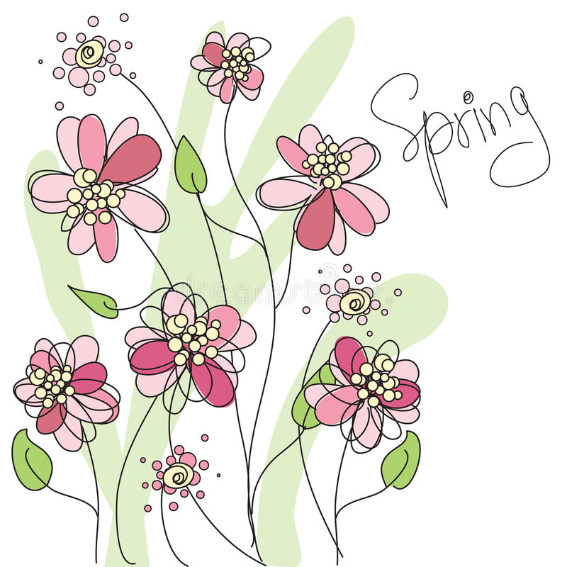 Abstract spring background. With pink flowers, illustrated vector illustration