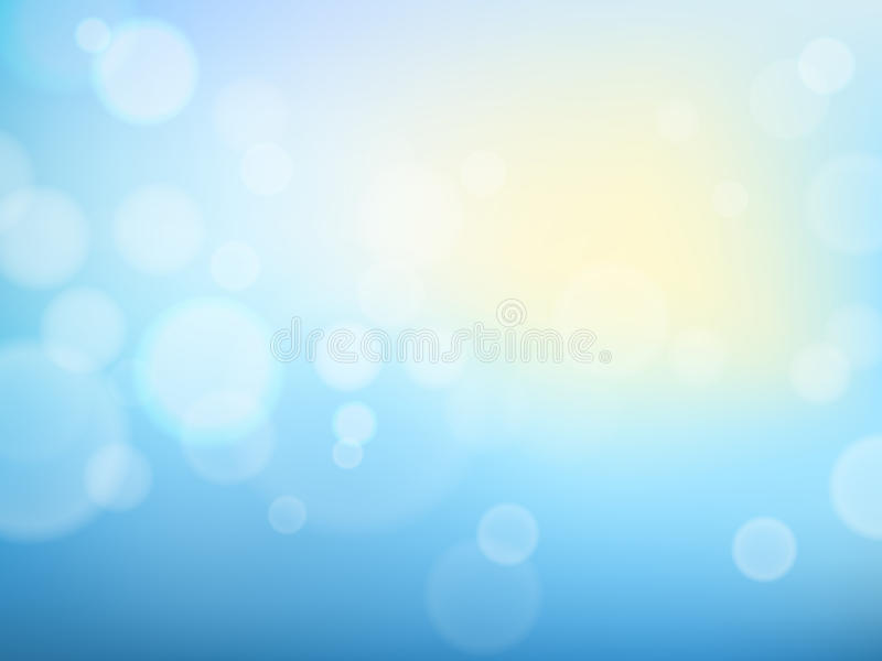 Abstract spring background with blue sky, sun and blurred bokeh lights. royalty free illustration