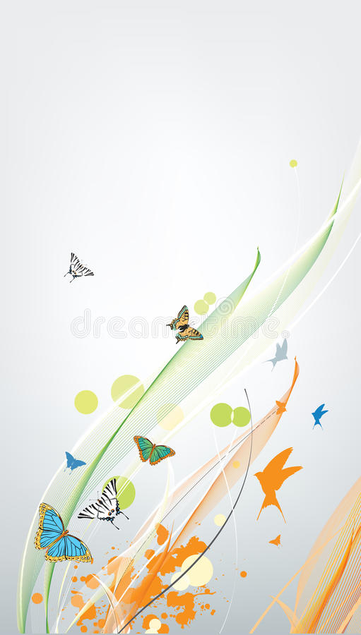 Abstract colorful spring background with butterfly. Abstract spring background with butterfly vector illustration
