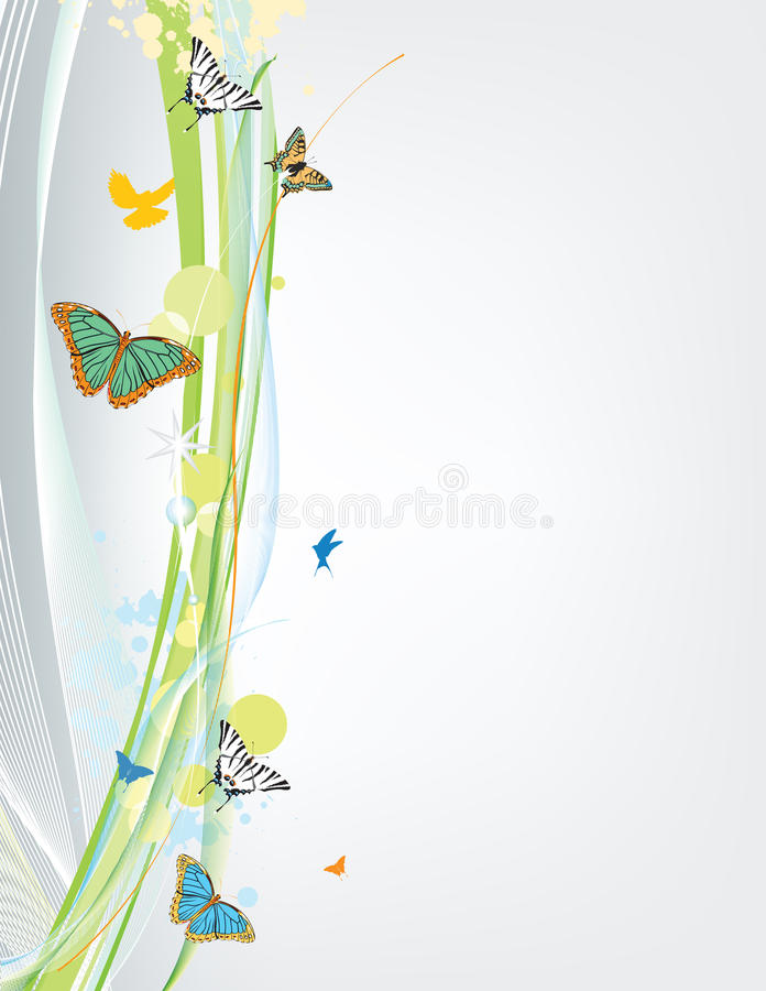 Abstract spring background with butterfly. And lines royalty free illustration