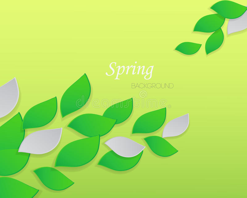 Abstract spring background with green leaves vector illustration