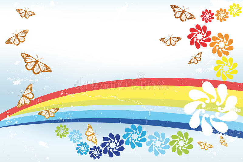 Abstract spring Background with rainbow, butterfli. Es and fantasy flowers - illustration stock illustration