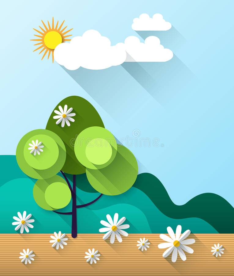 Abstract spring card background with paper flowers royalty free illustration