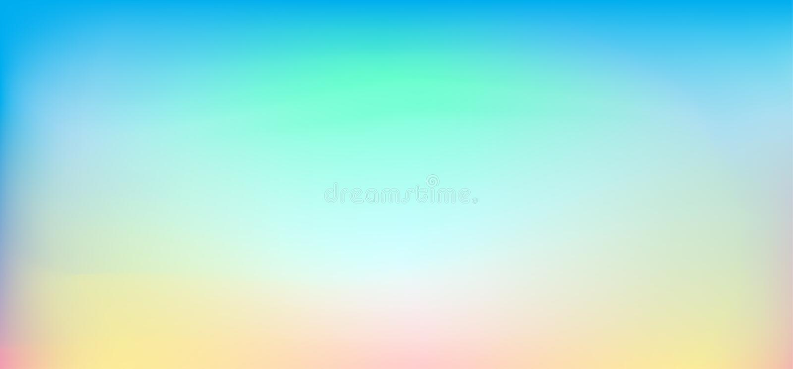 Abstract Spring Holiday blurred background, sunset sky banner blue skyline wallpaper stock illustration