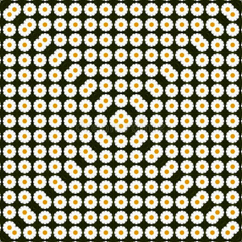 Abstract spring pattern with daisies, triangle camomiles. Can be used for pattern fabric, background, template for greeting card, royalty free stock images