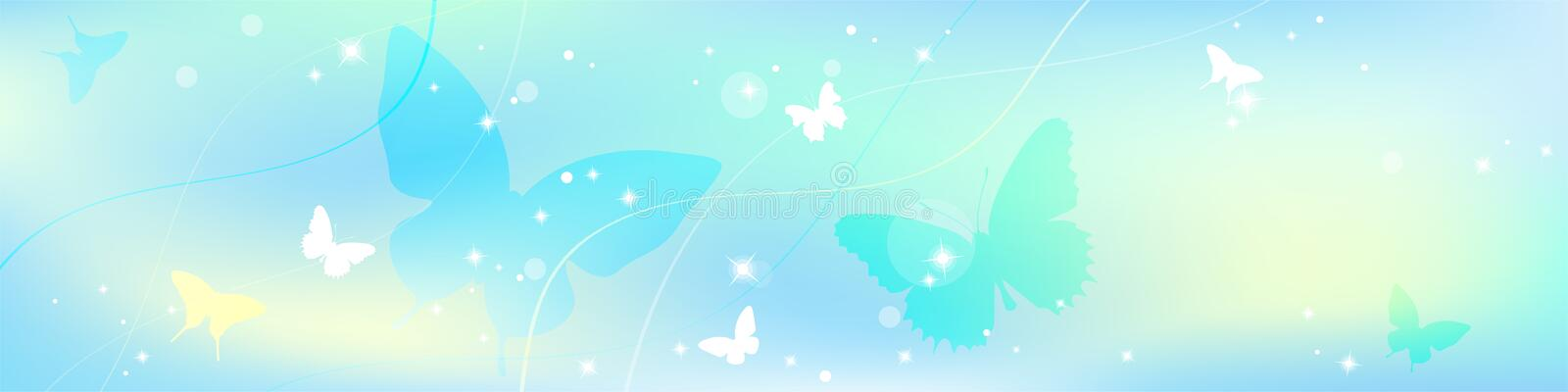 Abstract spring summer background in light pastel color, environmental theme with butterfly vector illustration
