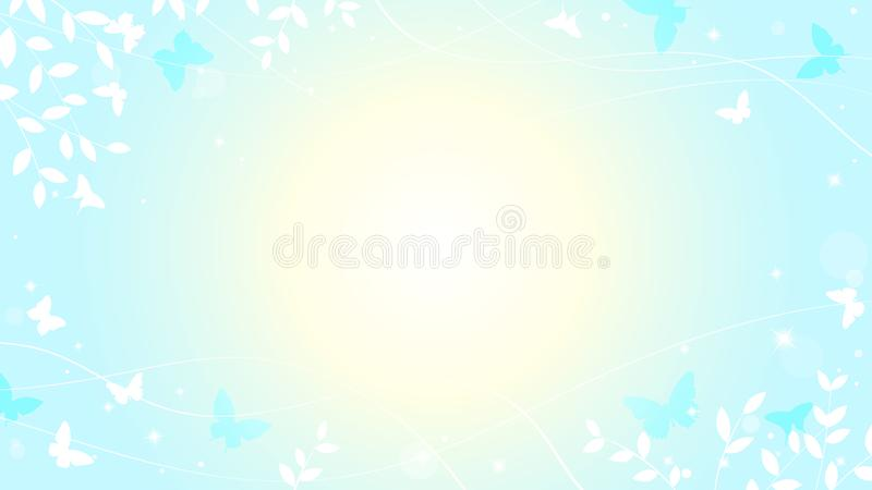 Abstract spring summer background in light pastel color, environmental theme with butterfly. And tree vector illustration