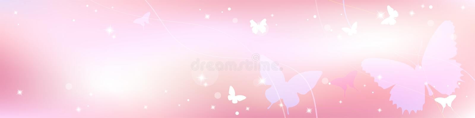 Abstract spring summer background in light pink pastel color, sweet love theme with butterfly vector illustration