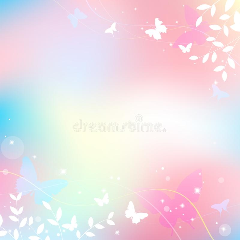 Abstract spring summer background in light pink pastel color, sweet love theme with butterfly. And tree stock illustration
