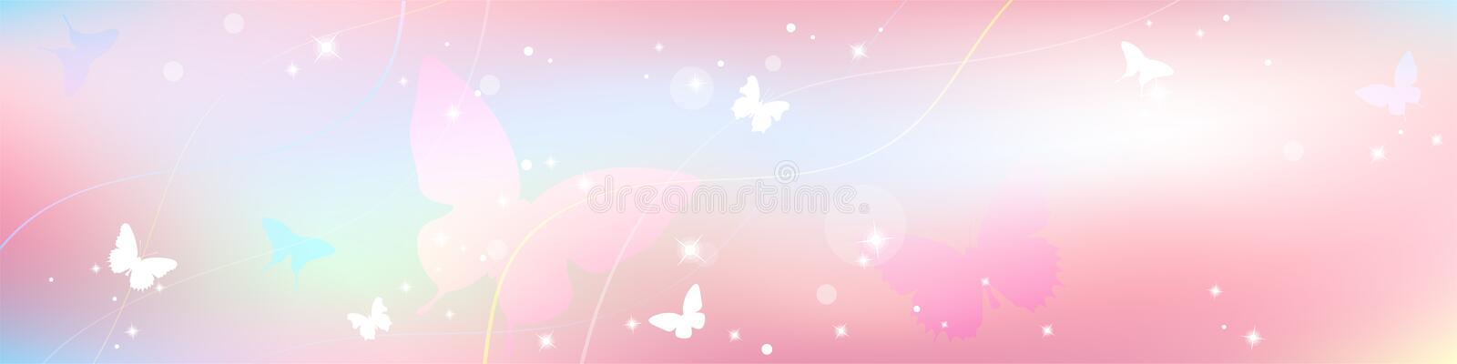 Abstract spring summer background in light pink pastel color, sweet love theme with butterfly. And tree vector illustration
