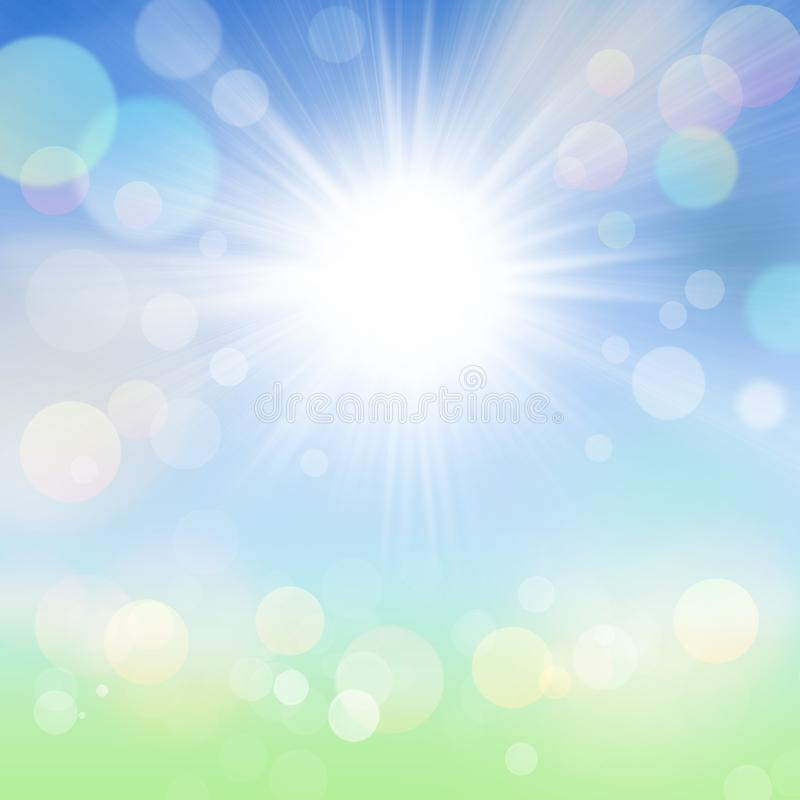 Abstract Spring Summer Bokeh Background With Sun, Blue Sky And Green Meadow royalty free illustration