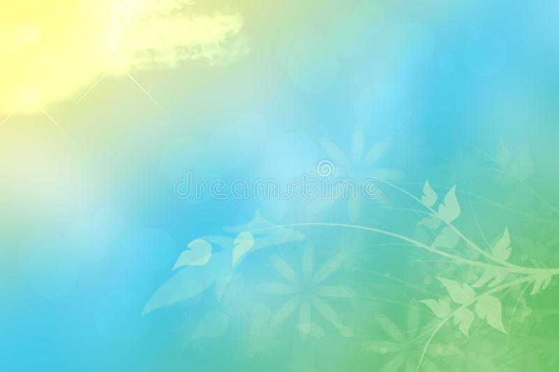 Abstract spring or summer flower background. Abstract flower background with beautiful green flowers, sun lights and blue sky. stock illustration
