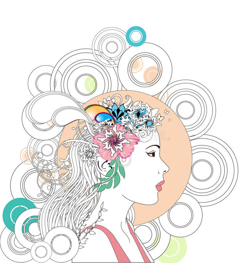 Abstract spring woman vector illustration