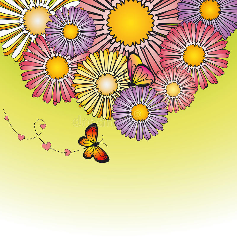 Abstract springtime colorful daisy flowers vector illustration