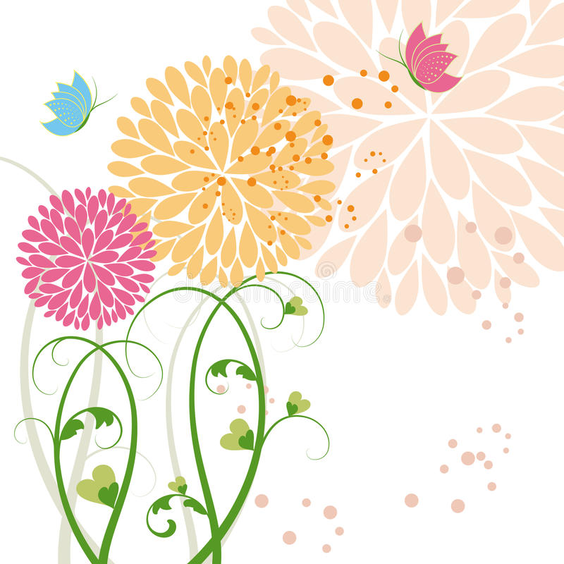 Abstract springtime colorful flower and butterfly stock illustration