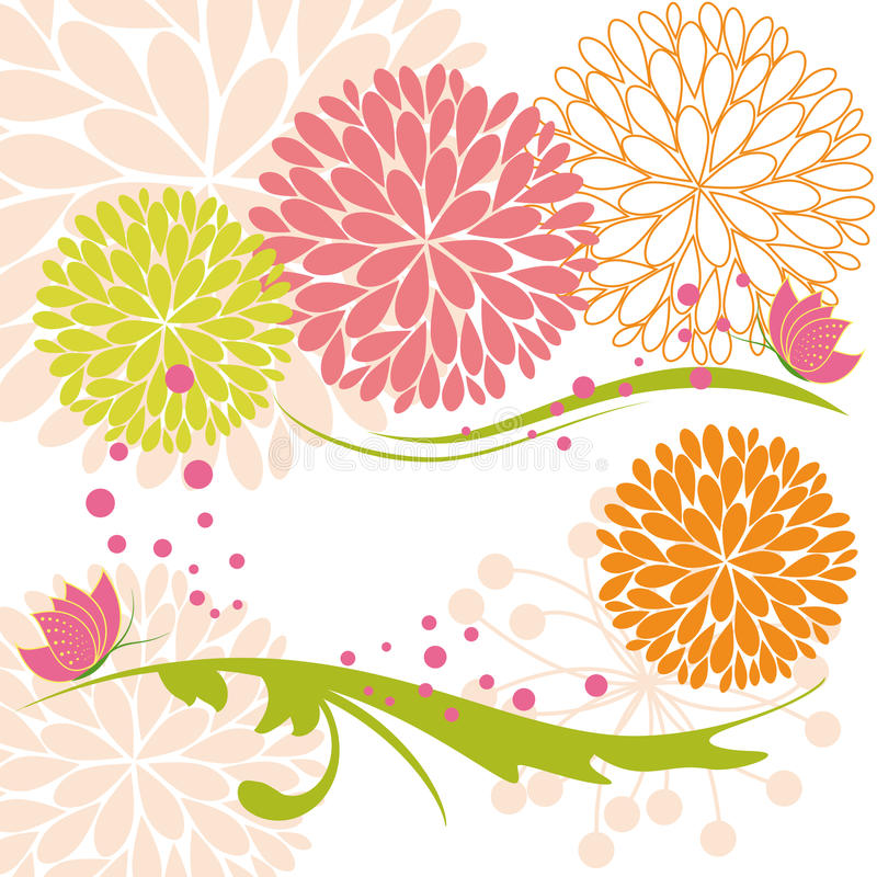Abstract springtime colorful flower and butterfly royalty free illustration