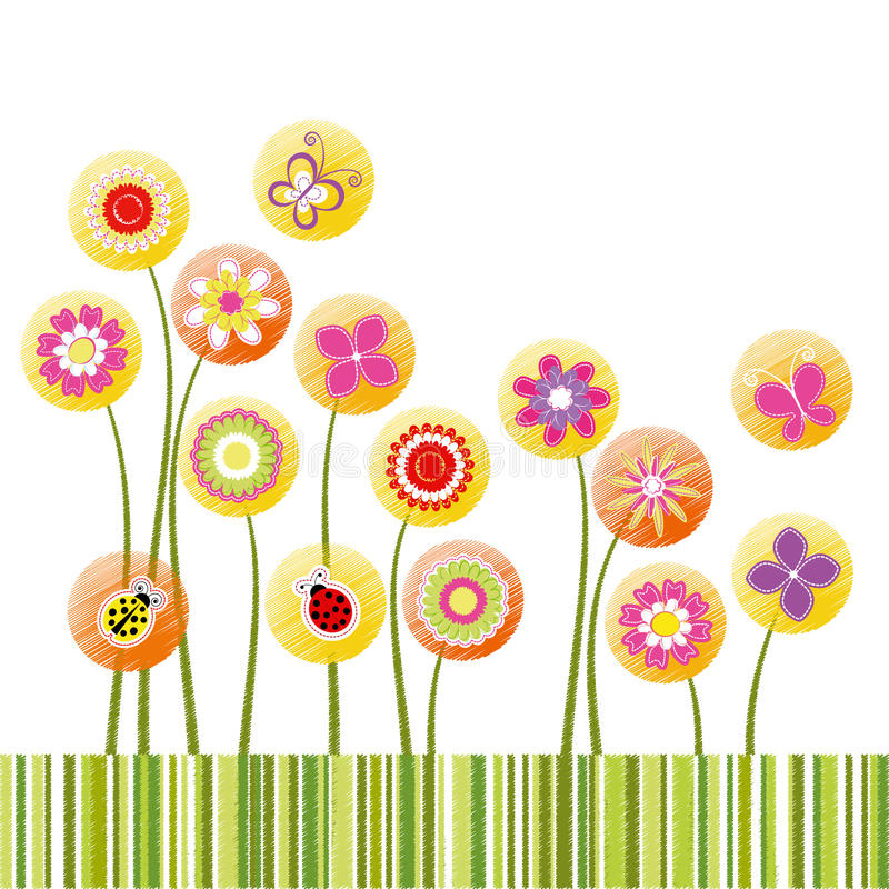 Abstract springtime colorful flower greeting card vector illustration