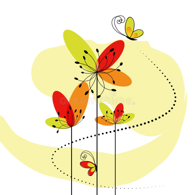 Abstract springtime flower with butterfly royalty free stock photo