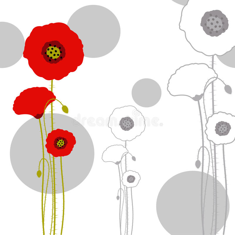 Abstract springtime red poppy on seamless pattern