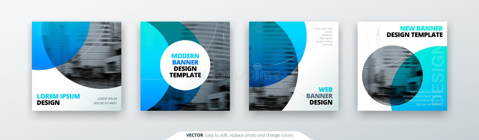 Abstract square background concept with circle for card banner brochure flyer design in blue colors. royalty free illustration