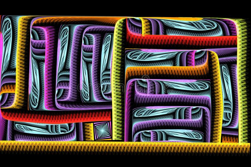 Abstract square bright colorful fractal on black backdrop royalty free stock photography