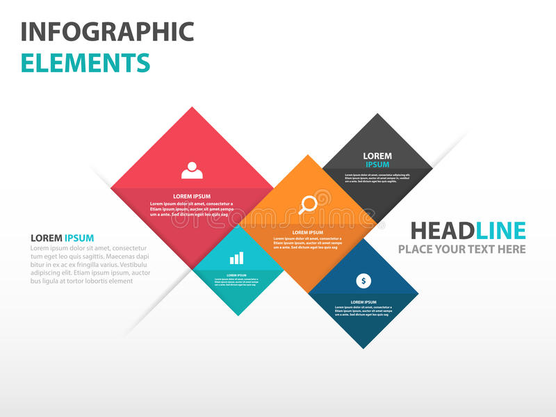 abstract 5 square business infographics elements, presentation, Powerpoint templates