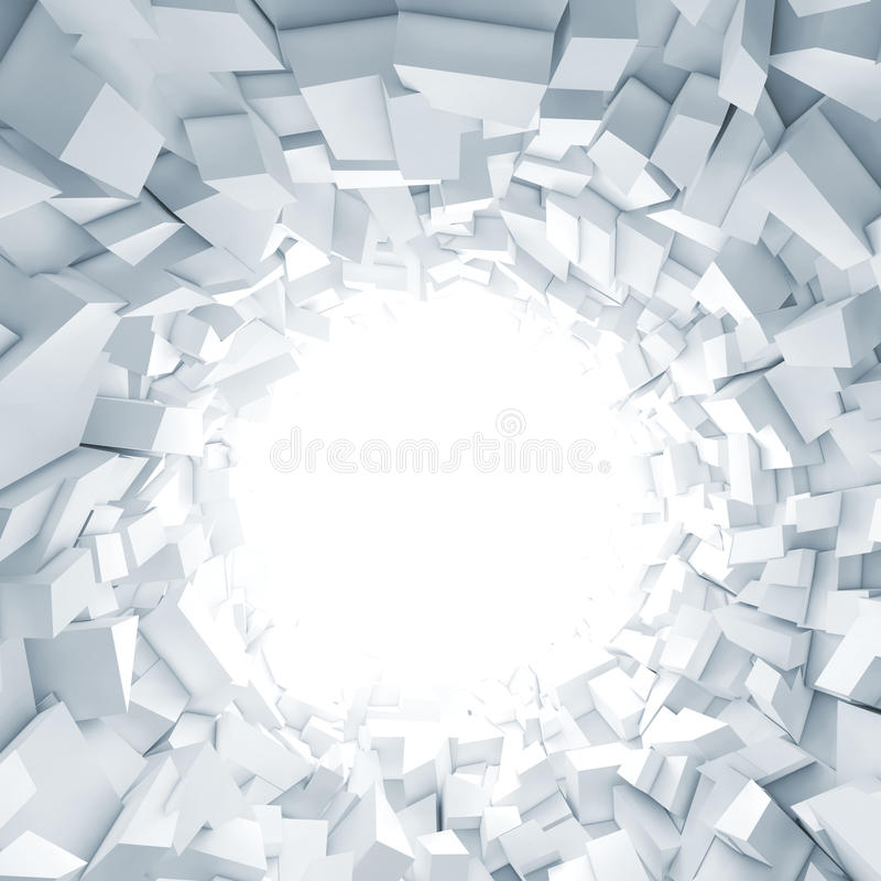 Abstract square digital background, 3 d. Abstract square digital background, white tunnel interior with glowing end and walls made of technological chaotic stock illustration