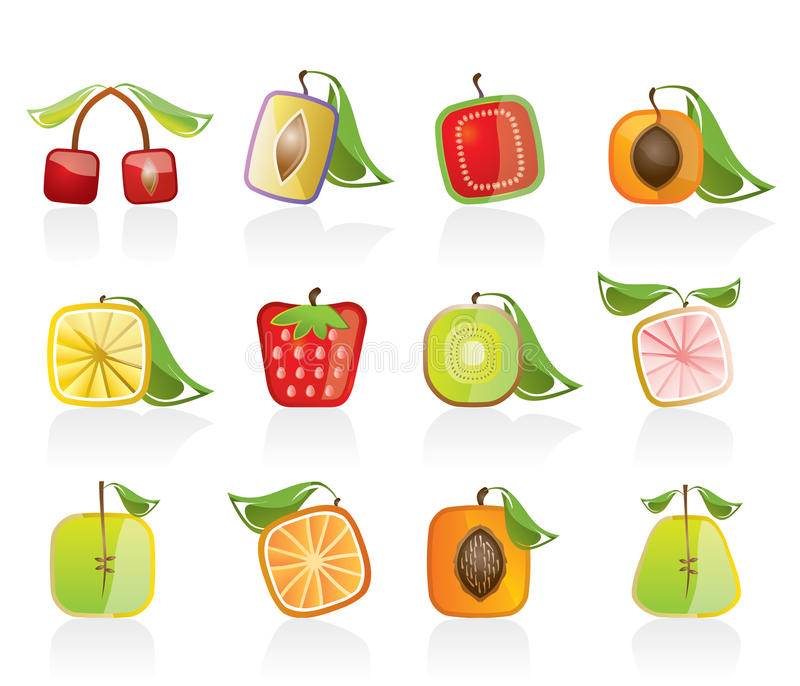Abstract square fruit icons. Vector icon set vector illustration