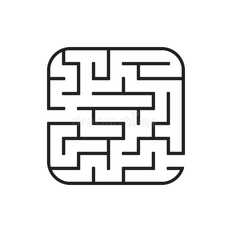 Abstract square maze. Easy level of difficulty. Game for kids. Puzzle for children. One entrances, one exit. Labyrinth conundrum. Flat vector illustration royalty free illustration