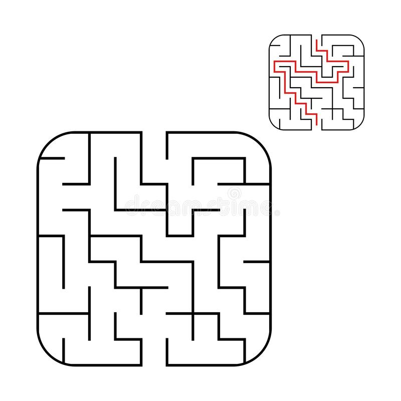 Abstract square maze. Easy level of difficulty. Game for kids. Puzzle for children. One entrances, one exit. Labyrinth conundrum. Flat vector illustration stock illustration