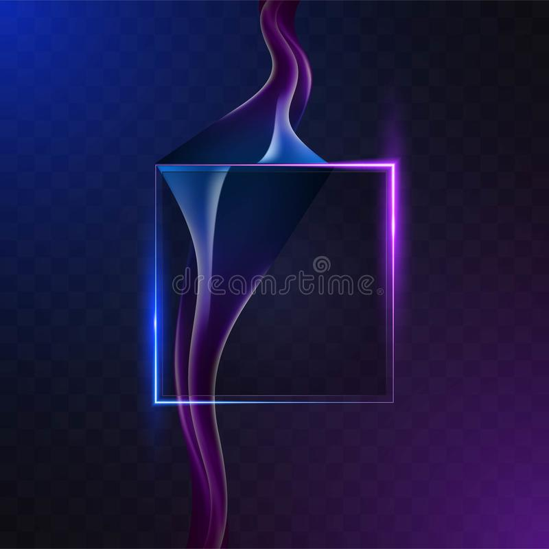 Abstract square neon background with smoke stock illustration