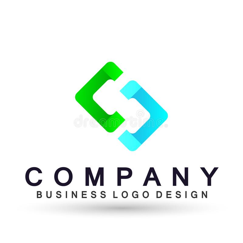Abstract square shaped business Logo, union on Corporate Invest Business Logo design. Financial Investment on white background. In ai 10 illustrations stock illustration