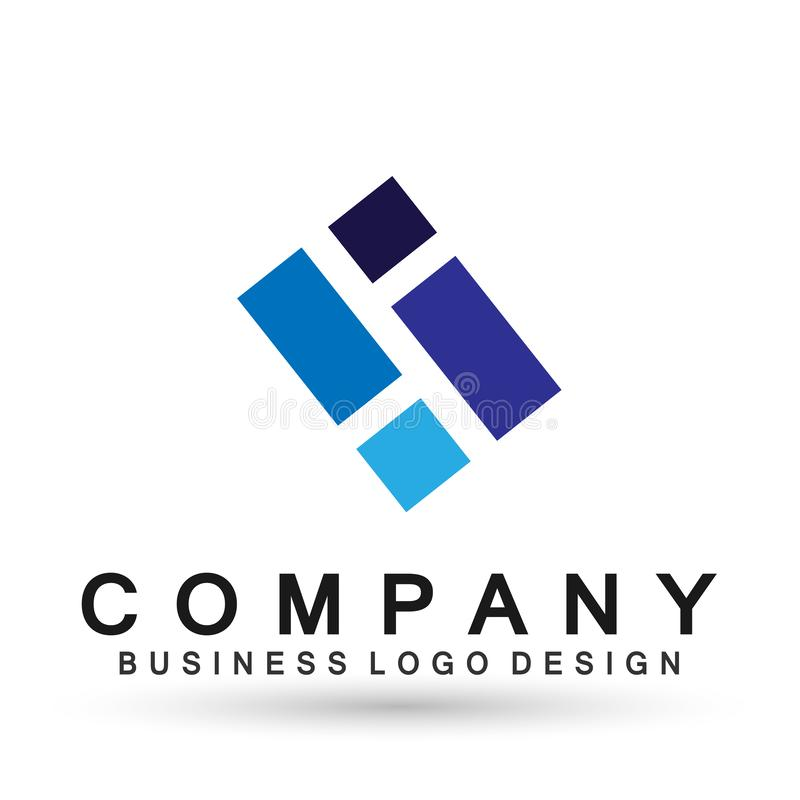 Abstract square shaped business Logo, union on Corporate Invest Business Logo design. Financial Investment on white background royalty free illustration