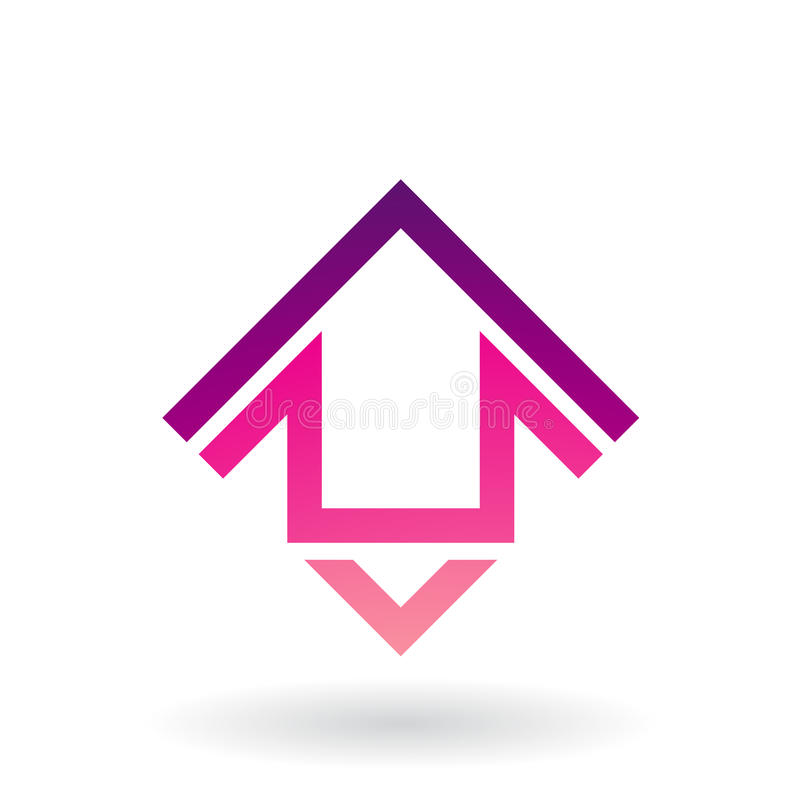 Abstract Square Shaped House Icon. Vector Illustration of Abstract Square Shaped House Icon isolated on a white background stock illustration