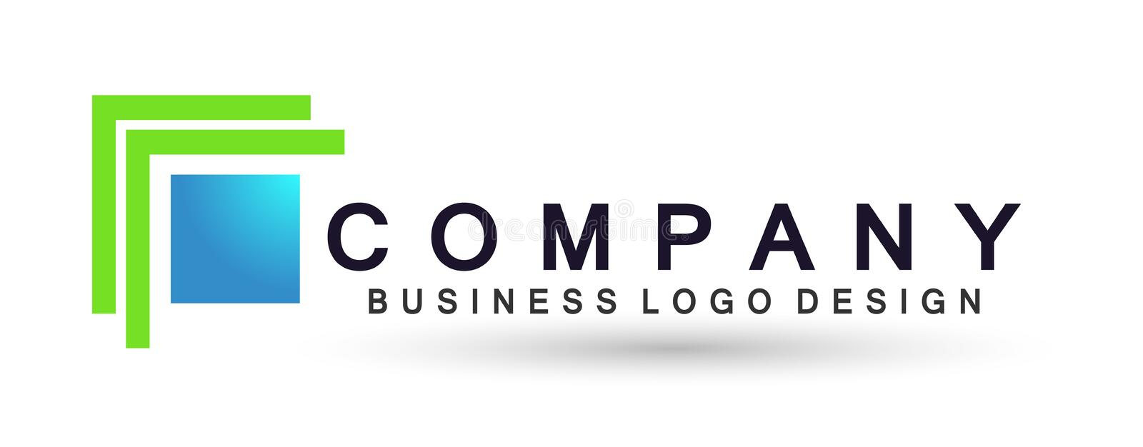 Abstract logo for business company. Corporate identity design element. Technology square, network, union team invest. Abstract square shaped logo for business royalty free illustration